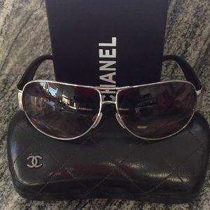 CHANEL Aviator Logo Sunglasses